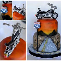 route 66 harley davidson cake - Cake by Cakey Bakes Cakes Motorcycle Birthday Cakes, Motorcycle Cake, Funny Birthday Cakes, Birthday Cakes For Teens, Cake Birthday, Route 66, Bicycle Cake, Christening Cake Boy, Harley Davidson Cake