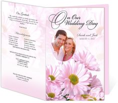 Daisies Wedding Program Templates easy to download and edit in Word, OpenOffice, Publisher, Apple iWork Pages.