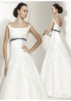 Discount Ball Gown with Ribbon Floor Length Satin Wedding Dress Online