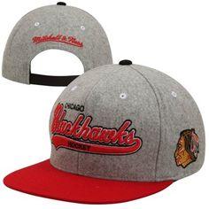 buy popular 3b418 dbc92 Mitchell   Ness Chicago Blackhawks Vintage Tailsweep Melton Adjustable Hat  - Gray