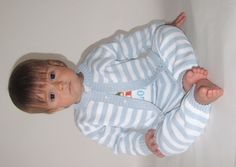 Baby boy knitted outfit, blue & white stripes-