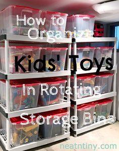 toy organization ideas How to Declutter Kids Toys Toy Storage Bins, Toy Bins, Kids Room Organization, Playroom Organization, Household Organization, Playroom Ideas, Storage Bin Organization, Basement Ideas, Modern Basement