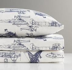 European Vintage Airplane Blueprint Crib Fitted Sheet | Nursery Sheeting | Restoration Hardware Baby & Child