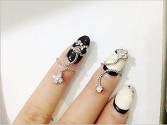 Finger Nail Ring Nail Art Crystal Fashion Ring Rhinestone Ring Glam Jewelry,Clover,Zircon on Etsy, $19.00