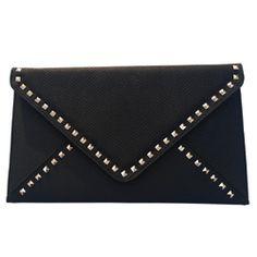 Handbags : Bianca Black Envelope Clutch. www.luxeandvain.com. So beautiful.