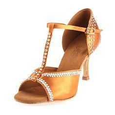 Satin T-Strap Latin / Ballroom Dance Shoes With Rhinestone For Women – USD $ 49.99
