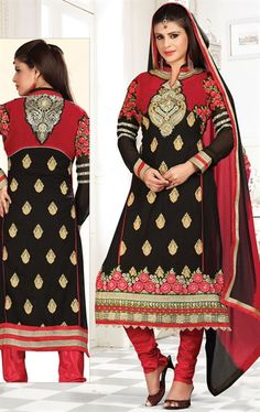 Picture of Gorgeous Red and Black Color Amazing Salwar Kameez