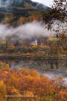 Loch Achray on a misty Autumn morning, Scotland.