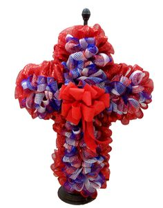 Patriotic Deco Mesh Cross by Karen S., A.C. Moore Erie, PA #decomesh #wreath