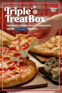 Your family's holiday meal plan is officially set. The Triple Treat Box® is packed with two medium pizzas, breadsticks, & Cinnabon® Mini Rolls. Triple Treat Box, Mini Rolls, Healthy Foods, Healthy Recipes, Cinnabon, Pizza Hut, Dessert For Dinner, History Facts, Airbrush