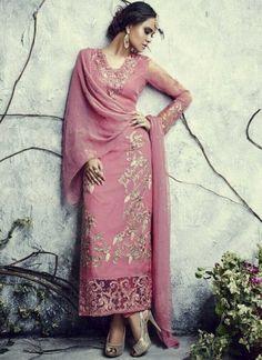 Glorious Pink Semi Georgette With Stone Work Pakistani Suit http://www.angelnx.com/Salwar-Kameez/Pakistani-Suits