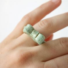 Make your own glitter bow ring using polymer clay!