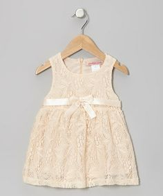 Take a look at this Blush Floral Lace Bow Dress - Toddler by Paulinie on #zulily today!
