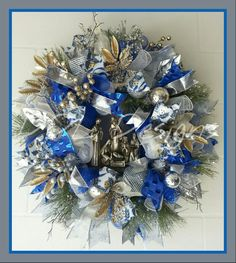 Nativity scene Christmas wreath in Silver, gold and sparkling crystals. DDL DESIGNS https://ddldesignsFacebook.com