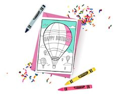 Super cute printable coloring cards and coloring pages! Just download, print at home, and color! - The spaces are large enough to be colored confidently but adults *and* kids. Click through for more designs - your purchase helps support an independent female artist! | DIY adult coloring.