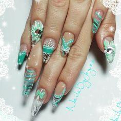 Sculpted crystal clear acrylic nails Hand painted nail art sculpted 3D nail art