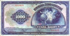 Medzivojnove Ceskoslovensko - 1000 Korun (Woman with globe) Money Notes, Retro, Czech Republic, European Countries, Globe, Stamps, Woman, Projects, Image