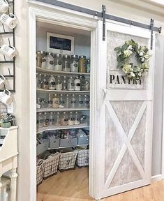 Sliding Barn Doors In the House - lots of sliding barn door ideas! Love these sliding pantry barn doors in this farmhouse kitchen! haus Sliding Barn Doors - DIY Sliding Barn Door Ideas For Your Home - Involvery Diy Sliding Barn Door, Diy Barn Door, Sliding Pantry Doors, Barn Door Pantry, Kitchen Pantry Doors, Kitchen Pantry Design, Small Kitchen Pantry, Country Kitchen Designs, Home Decor Kitchen