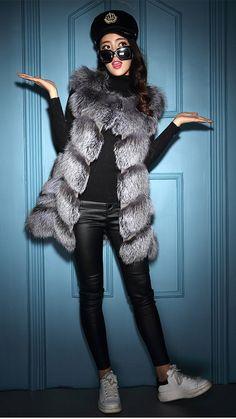 LX00776 Women Real Fox Fur Waistcoat