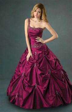 One Shoulder Ball Gown Floor-length Ruffles Beading Sweet 16 #Dress Style Code: 05313 $119