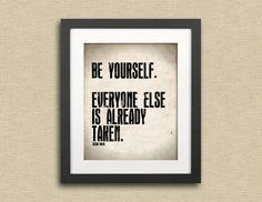 Typography Print Oscar Wilde Quote Be Yourself--Typographical Art Print 11x14. $25.00, via Etsy.