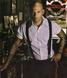 Ami James, not only a great tattoo artist, but the only bald headed guy I find attractive haha. No joke! Tattoos For Guys, Great Tattoos, Sexy Tattoos, Tatoos, Sleeve Tattoos, Suspenders, Man Crush, Ami James, Pretty People