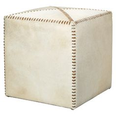 Jamie Young White Hide Small Ottoman JY20OTTOSMWH