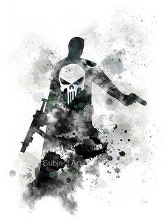 Punisher inspired ART PRINT illustration Antihero by SubjectArt The Punisher, Punisher Tattoo, Defenders Marvel, Iron Man Art, Marvel Tattoos, Marvel Art, Comic Art, Comic Book, Art Prints