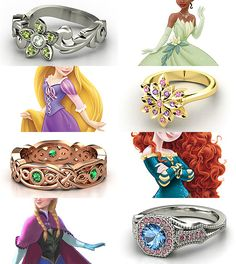 Ring Design Meme Rings inspired by the Disney Princesses - Part III Tiana, Rapunzel, Merida, Anna (made here)