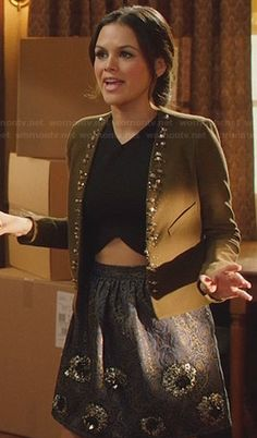 Zoe's green studded jacket and black crop top on Hart of Dixie. Outfit Details: http://wornontv.net/26934/ #HartofDixie