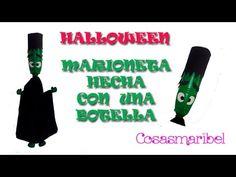 Manualidades para Halloween. Como hacer marioneta de Frankenstein con una botella (reciclaje). - YouTube