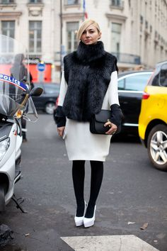 Paris Street Style Couture 2013. Phoebe Philo devotees have much to love about this Céline look.