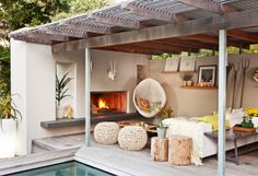 An outdoor fireplace design on your deck, patio or backyard living room instantly makes a perfect place for entertaining, creating a dramatic focal point. Outdoor Rooms, Outdoor Living, Outdoor Decor, Outdoor Lounge, Indoor Outdoor, Rustic Outdoor, Outdoor Cabana, Outdoor Couch, Terrasse Design