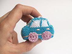 Sky blue crochet car  amigurumi keychain  light blue by SILAYAYA, $14.00