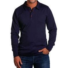 Men's Long Sleeve Polo - Navy