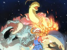 Lyra with Feraligatr, Meganium, and Typhlosion