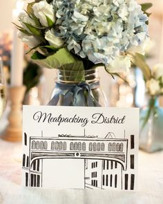 Hand Drawn, Unique New York City Neighborhood wedding table numbers by Pineapple Street Designs. Perfect for a NYC themed wedding. Meatpacking District wedding table card drawing