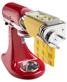 Use the power of your KitchenAid® Stand Mixer to bring the taste of fresh pasta into your home. The ravioli maker lets you manually guide two sheets of fresh pasta through the hopper, filling the pockets with whatever combination of ingredients you choose Toy Kitchen, Small Kitchen Appliances, Kitchen Items, Kitchen Aide, Kitchen Dining, Kitchen Things, Kitchen Tools, Kitchen Decor, Cooking Gadgets