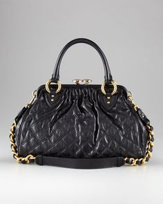 Stam Quilted Satchel, Black by Marc Jacobs at Bergdorf Goodman. Black Satchel, Satchel Bag, Next Bags, Buy All The Things, Classic Chic, Lambskin Leather, Balenciaga City Bag, Black Denim, Metal Jewelry