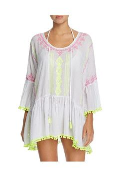59133ea0bc826 Surf Gypsy - Surf Gypsy Embroidered Pom Pom Dress Swim Cover-Up Women's  Swimsuits &