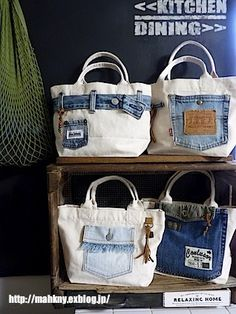 Denim Handbags, Denim Tote Bags, Denim Purse, Diy Tote Bag, Leather Bags Handmade, Handmade Bags, Denim Bag Patterns, Artisanats Denim, Diy Bags Purses