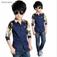 9f3907fb5b2 Click to Buy    Brand Boys Shirts Autumn Spring Children Clothing Cotton  Casual