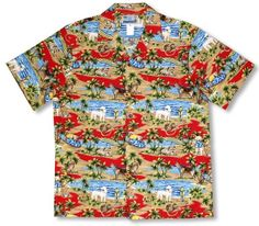 Doggie Surf Board Men's Hawaiian Aloha Shirt in Red – 4X  Made from 100% Imported Cotton Hand Made in Hawaii Pockets Seamlessly Match the Print Background