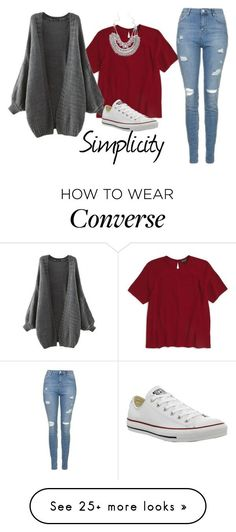 """""""Simplicity"""" by mel2016 on Polyvore featuring Topshop and Converse"""