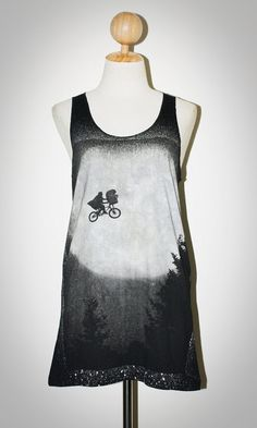 E.T. The Movie Black Singlet Tank Top Sleeveless Vintage / Hollywood T-Shirt Size S