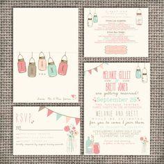 Wedding Invitation Suite Set - Printable, Custom, DIY - VINTAGE, RUSTIC, Pretty (Wedding Design #10)