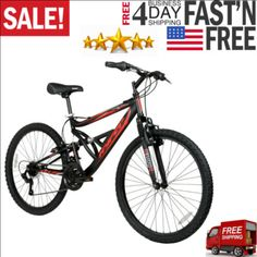 Hyper Bicycles 26″ Shocker Men's Dual Suspension Mountain Bike, Black About ThisItemEnjoy a comfortable ride with the Hyper 26″ Shocker Men's Dual Suspension Mountain Bike. It features a strong steel frame, front fork and powerful linear pull front and rear brakes, so it's ready to take on any adventure. The knobby tires and the easy-to-use, […]