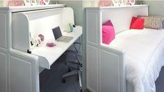 Hidden Bed Converts into a Desk Shed Blueprints, Hidden Bed, Built Ins, Desks, Offices, Bedroom Furniture, Office Desk, Corner Desk, Convertible