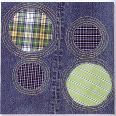 Denim Quilt Inspiration: Free patterns - Looking for an idea for a tee-shirt, ribbon, jean memory quilt. I like where this is going!