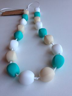 Silicone teething necklace bpa free by BubbachewJewels on Etsy